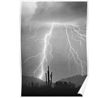Lightning Rain -Black and White Poster