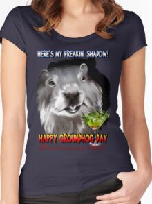 Punxsutawney Phil's Shadow Women's Fitted Scoop T-Shirt