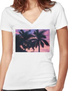 Palm Trees and Sunset Women's Fitted V-Neck T-Shirt