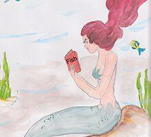 Mermaid reading a book on Fish by Rosalie Scanlon
