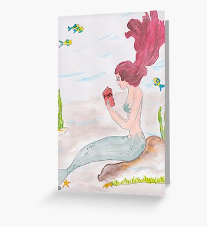 Mermaid reading a book on Fish Greeting Card
