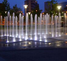 Baltimore Inner Harbour Fountain by tom fijalkovic