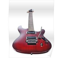 Red Ibanez electric guitar isolated on white art photo print Poster