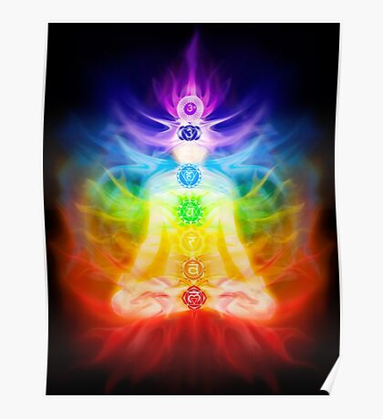Chakras and energy flow on human body art photo print Poster