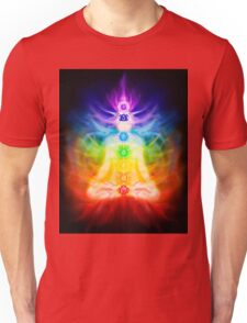 Chakras and energy flow on human body art photo print Unisex T-Shirt