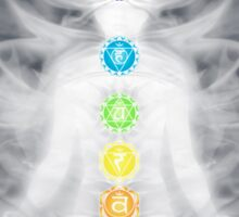 Woman meditating in lotus pose silhouette with Chakras and energy flow art photo print Sticker