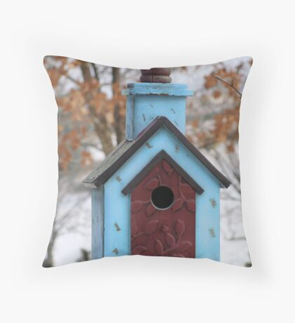 Little Blue Bird House Throw Pillow