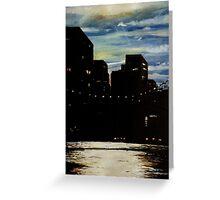 Night at the Brooklyn Bridge Greeting Card