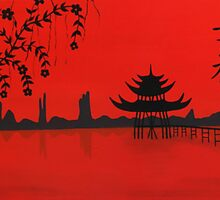 "PAGODA WITH CHINESE SYMBOLS MEANING ""HAPPINESS"" by ARTBYVT"