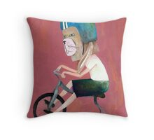 conejo en bicicleta 2006 Throw Pillow