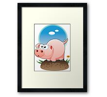 Cartoon Pig design t-shirt Framed Print