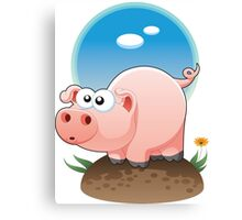 Cartoon Pig design t-shirt Canvas Print
