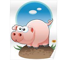 Cartoon Pig design t-shirt Poster