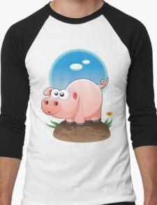 Cartoon Pig design t-shirt Men's Baseball ¾ T-Shirt