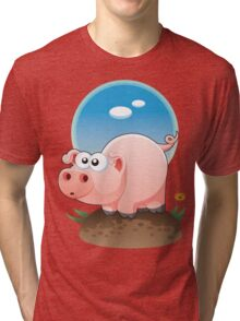 Cartoon Pig design t-shirt Tri-blend T-Shirt
