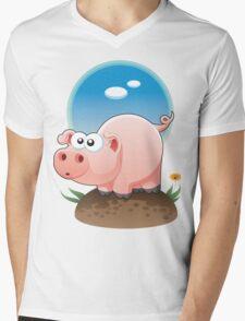 Cartoon Pig design t-shirt Mens V-Neck T-Shirt