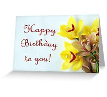 Happy Birthday with Orchids Greeting Card