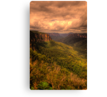 Of Rugged Mountain Ranges  - Govetts - Blue Mountains World  Heritage Area - The HDR Experience Canvas Print