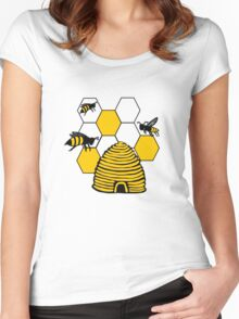 Bee happy in yellow Women's Fitted Scoop T-Shirt