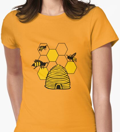 Bee happy in yellow Womens Fitted T-Shirt