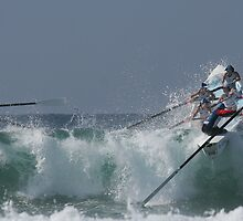 Jan Juc and St Kilda make it past a big one - Surfboats by Andrew Mather