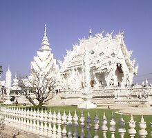 White Buddhist Temple in Thailand. by Mywildscapepics