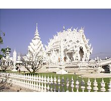 White Buddhist Temple in Thailand. Photographic Print