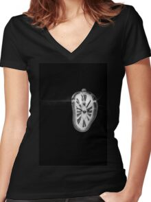 Salvador Dali Inspired Melting Clock Women's Fitted V-Neck T-Shirt