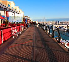 Walking along marina by zumi