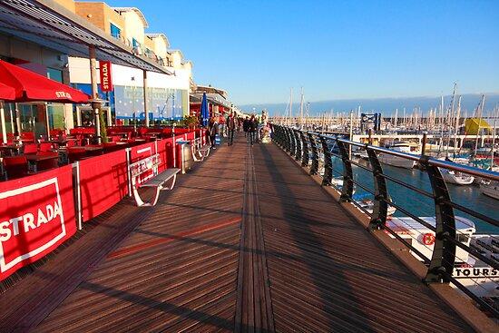 Walking along marina by zumi