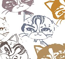 Several cats by JoAnnFineArt