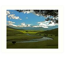 Drakensberg landscape in the late afternoon Art Print