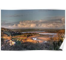Winter Sun over the River Towy Poster
