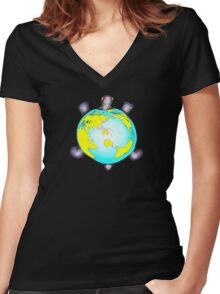 Turtle World Women's Fitted V-Neck T-Shirt
