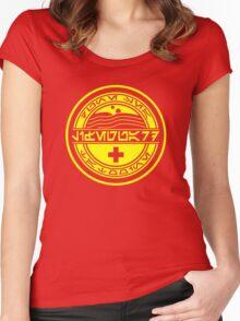 Dune Sea Lifeguard Aurebesh [Yellow Normal] Women's Fitted Scoop T-Shirt