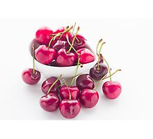 Bowl of fresh red cherries on white background Photographic Print