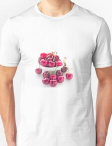 Bowl of fresh red cherries on white background T-Shirt