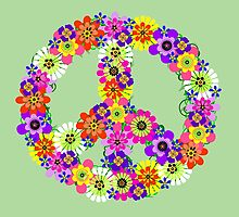 Peace Sign Floral by Valerie  Fuqua