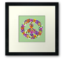 Peace Sign Floral Framed Print
