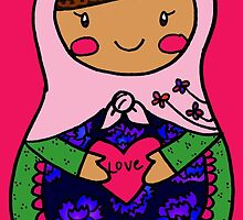 Love Russian Doll with Brown Hair by Colleen Hernandez