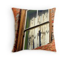 """""""Tattered Curtains"""" Throw Pillow"""