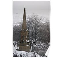 Church Steeple in Snow Poster