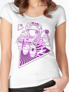 Spaceman lost in deep Cosmos Women's Fitted Scoop T-Shirt