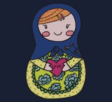 Love Russian Doll with Red Hair Kids Tee