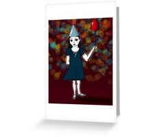 Lonely Girl's Red Balloon Greeting Card