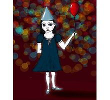 Lonely Girl's Red Balloon Photographic Print
