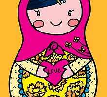 Love Russian Doll with Black Hair and Light Skin by Colleen Hernandez