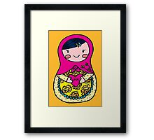 Love Russian Doll with Black Hair and Light Skin Framed Print