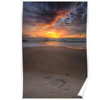Sunshine Beach Footprint Poster