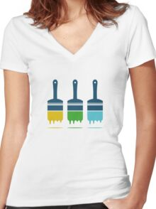 color brushes Women's Fitted V-Neck T-Shirt